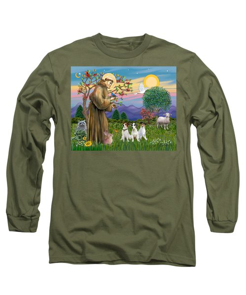 Saint Francis Blesses Three Jack Russell Terriers Long Sleeve T-Shirt