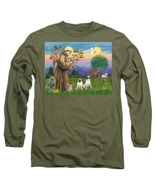 Saint Francis Blesses Two Fawn Pugs Long Sleeve T-Shirt