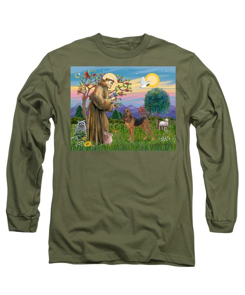 Saint Francis Blessing A Bloodhound Long Sleeve T-Shirt