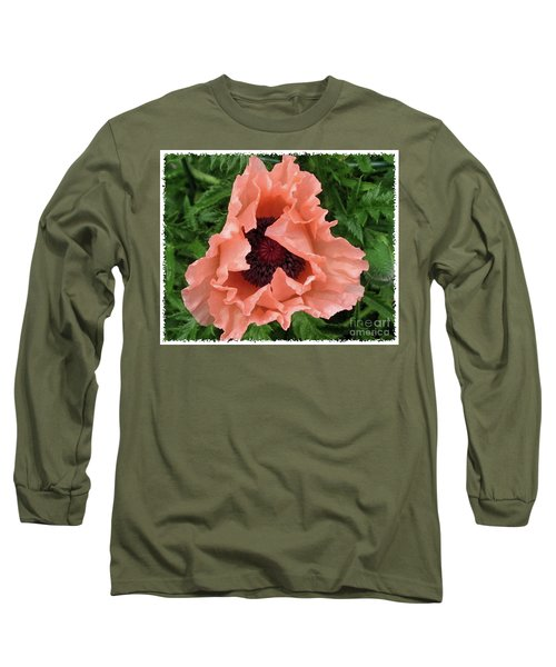Salmon Colored Poppy Long Sleeve T-Shirt by Barbara Griffin