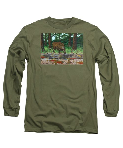 Salmon Fishing Long Sleeve T-Shirt by Katherine Young-Beck