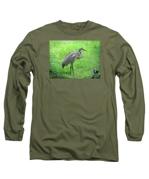 Long Sleeve T-Shirt featuring the photograph Sandhill Crane - Bird Photography by Ella Kaye Dickey