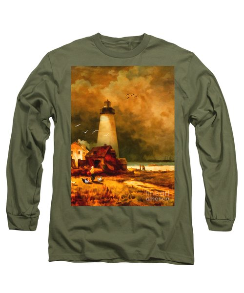 Sandy Hook Lighthouse - After Moran Long Sleeve T-Shirt by Lianne Schneider