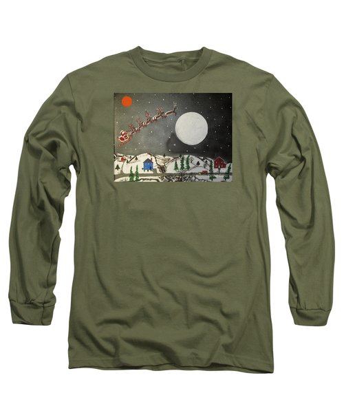 Long Sleeve T-Shirt featuring the painting Santa Over The Moon by Jeffrey Koss