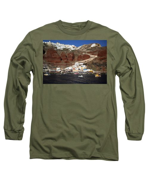 Santorini  Island  View To Oia Greece Long Sleeve T-Shirt