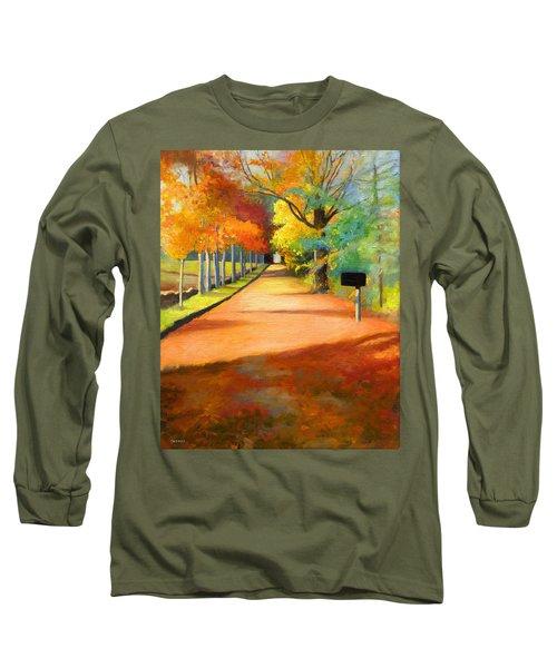 Sawmill Road Autumn Vermont Landscape Long Sleeve T-Shirt