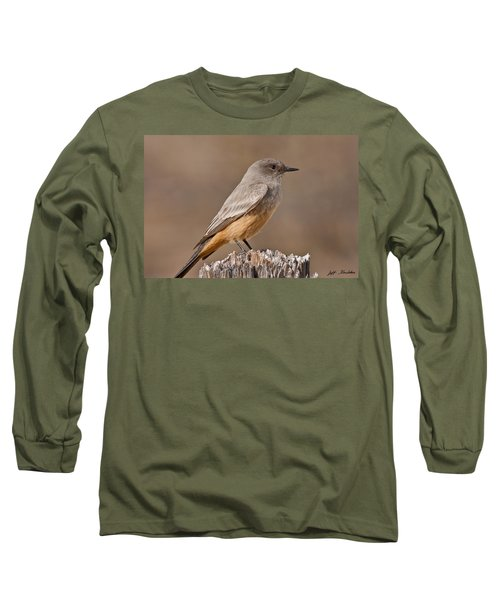 Say's Phoebe On A Fence Post Long Sleeve T-Shirt
