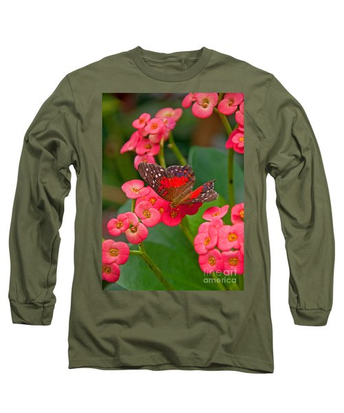Scarlet Swallowtail Butterfly On Crown Of Thorns Flowers Long Sleeve T-Shirt