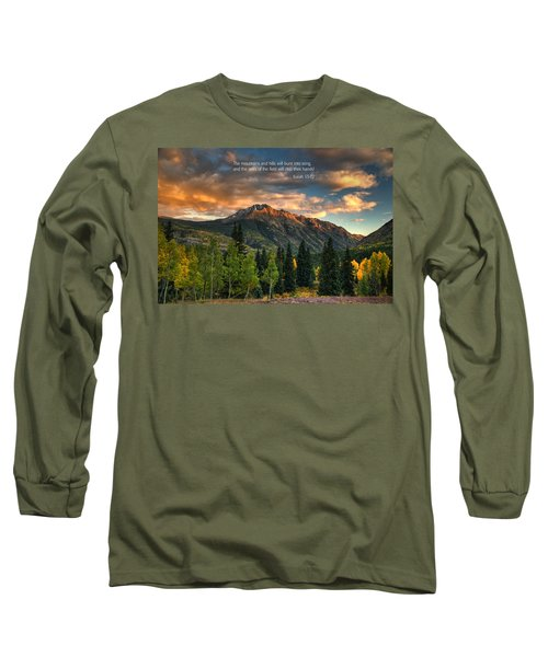 Scripture And Picture Isaiah 55 12 Long Sleeve T-Shirt by Ken Smith