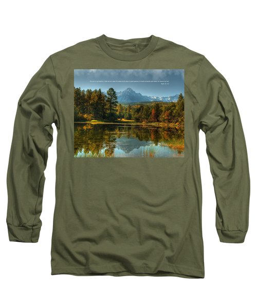 Scripture And Picture Psalm 23 Long Sleeve T-Shirt by Ken Smith