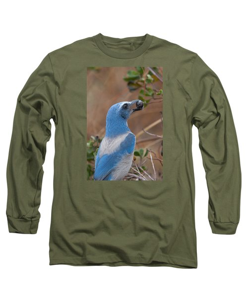 Long Sleeve T-Shirt featuring the photograph Scrub Jay With Acorn by Paul Rebmann