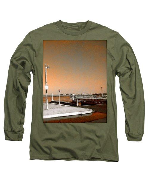 Long Sleeve T-Shirt featuring the photograph Sea Gulls Watching Over The Wetlands In Orange by Amazing Photographs AKA Christian Wilson