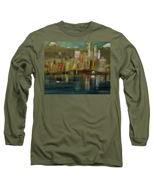 Seattle Cityscape Long Sleeve T-Shirt by Dick Bourgault