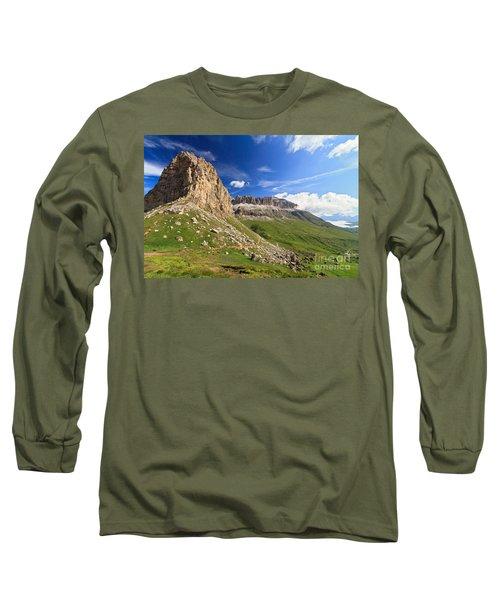Long Sleeve T-Shirt featuring the photograph Sella Mountain And Pordoi Pass by Antonio Scarpi