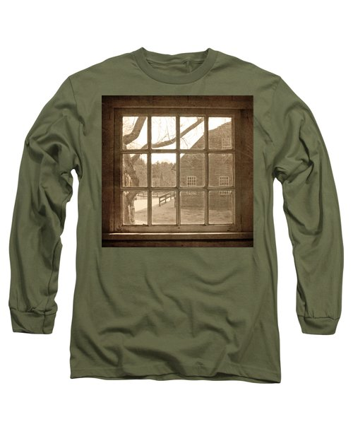 Long Sleeve T-Shirt featuring the photograph Sepia Colonial Scene Through Antique Window by Brooke T Ryan