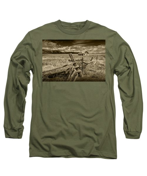 Sepia Colored Photo Of A Wood Fence By The John Moulton Farm Long Sleeve T-Shirt