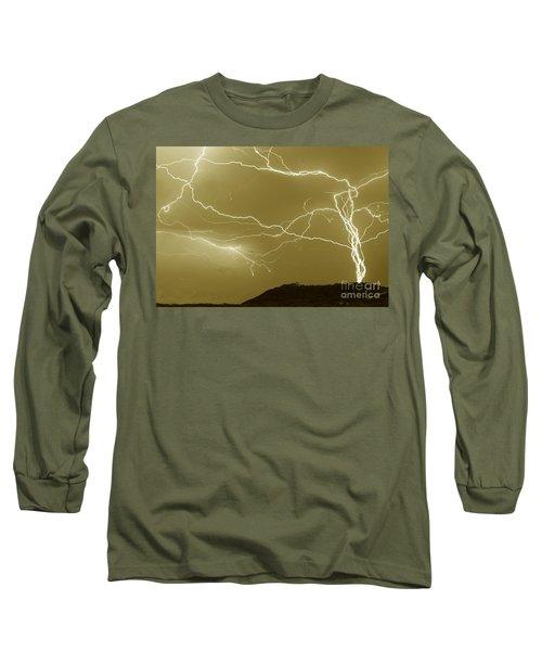 Sepia Converging Lightning Long Sleeve T-Shirt