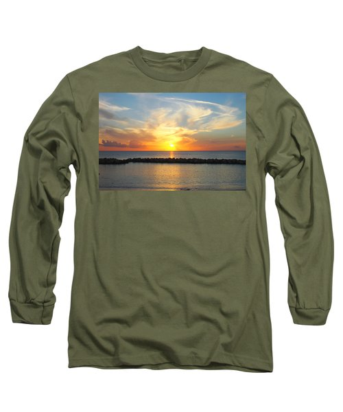 Seven Mile Sunset Over Grand Cayman Long Sleeve T-Shirt by Amy McDaniel