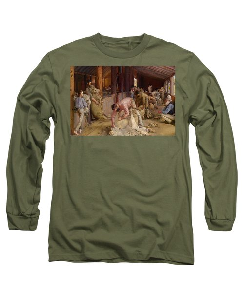 Shearing The Rams  Long Sleeve T-Shirt by Tom Roberts