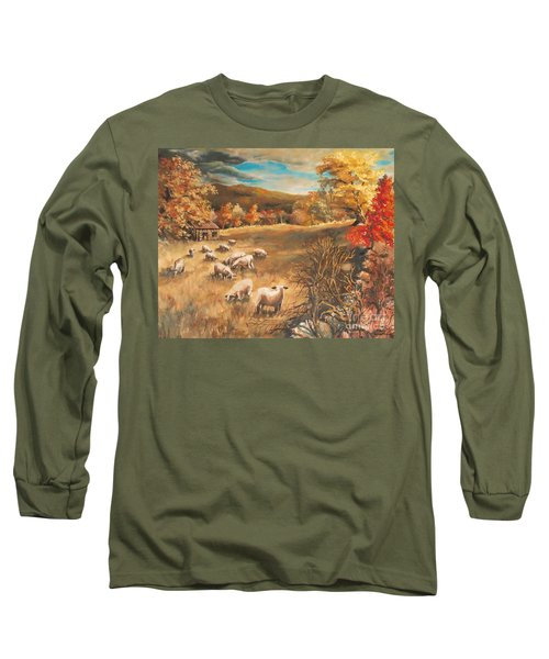 Sheep In October's Field Long Sleeve T-Shirt by Joy Nichols