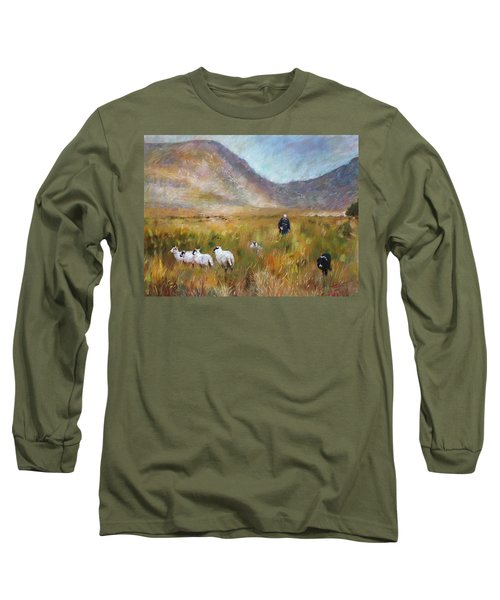 Long Sleeve T-Shirt featuring the drawing Shepherd And Sheep In The Valley  by Viola El