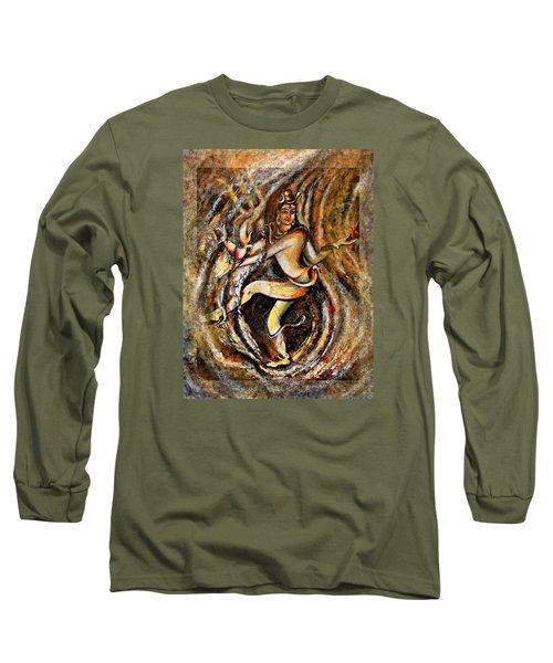 Long Sleeve T-Shirt featuring the painting Shiva Eternal Dance by Harsh Malik