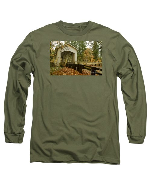 Long Sleeve T-Shirt featuring the photograph Short Covered Bridge by Nick  Boren