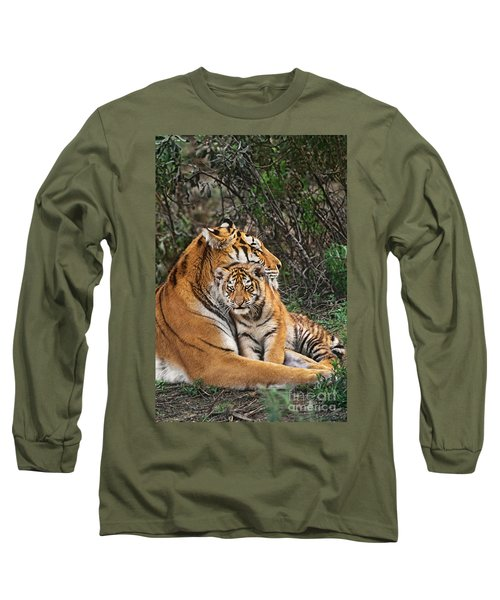 Siberian Tiger Mother And Cub Endangered Species Wildlife Rescue Long Sleeve T-Shirt by Dave Welling