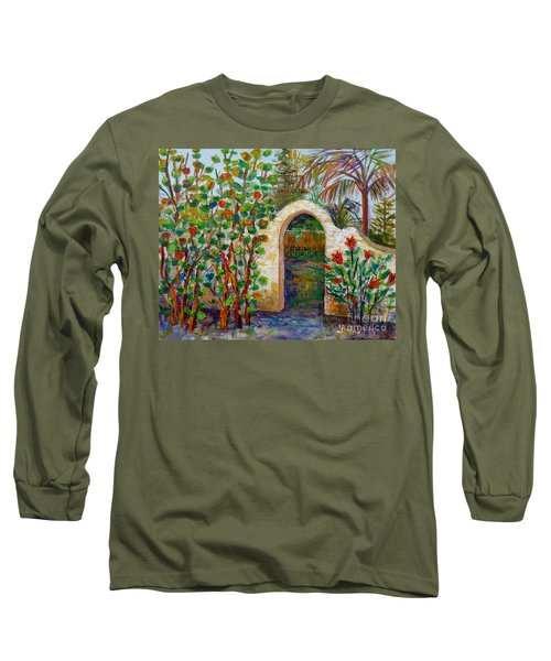 Long Sleeve T-Shirt featuring the painting Siesta Key Archway by Lou Ann Bagnall