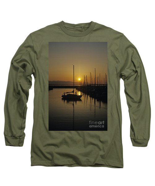 Silhouetted Man On Sailboat Long Sleeve T-Shirt