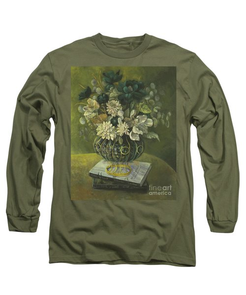 Silk Floral Arrangement Long Sleeve T-Shirt by Marlene Book