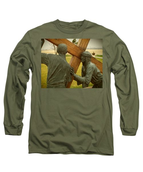 Simon Helps Jesus Carry His Cross Long Sleeve T-Shirt