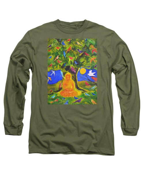Buddha And The Birds Long Sleeve T-Shirt