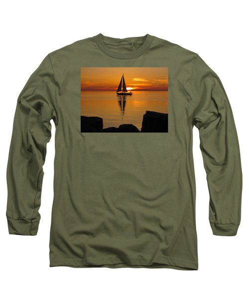 Sister Bay Sunset Sail 2 Long Sleeve T-Shirt by David T Wilkinson