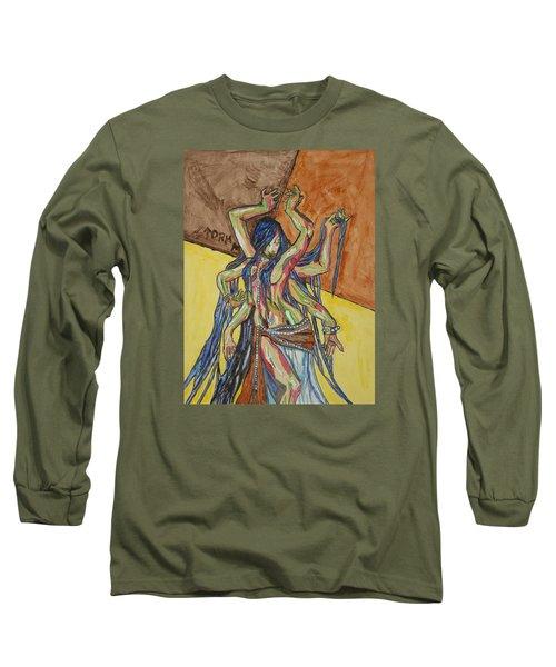 Six Armed Goddess Long Sleeve T-Shirt by Stormm Bradshaw
