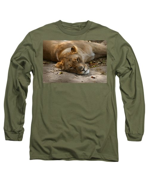 Long Sleeve T-Shirt featuring the photograph Sleepy Lioness by Ann Lauwers