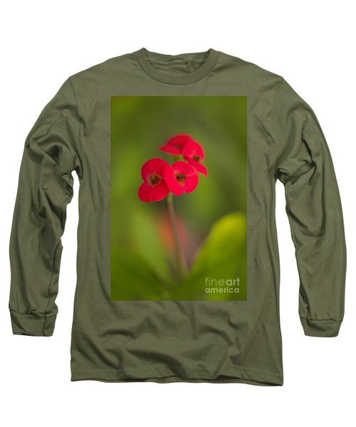 Small Red Flowers With Blurry Background Long Sleeve T-Shirt