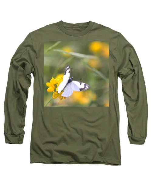 Long Sleeve T-Shirt featuring the photograph Small White Butterfly On Yellow Flower by Belinda Greb