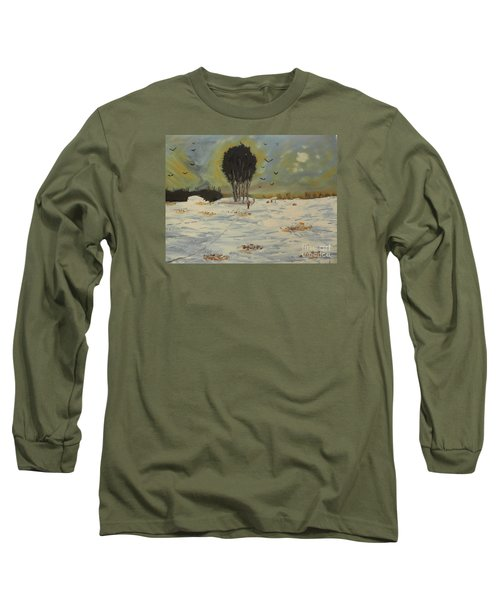 Long Sleeve T-Shirt featuring the painting Snow At Christmas by Pamela  Meredith