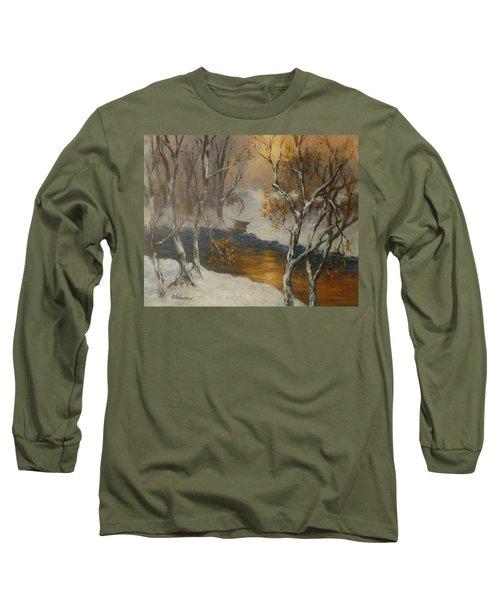 Snow Sunset Paintings Long Sleeve T-Shirt