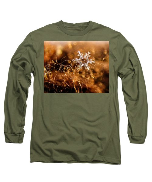 Snowflake On Brown Long Sleeve T-Shirt