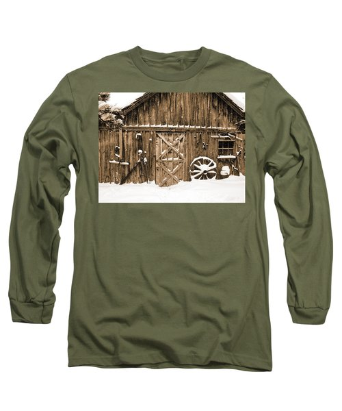 Snowy Old Barn Long Sleeve T-Shirt