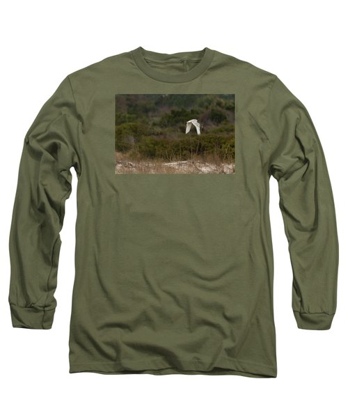 Long Sleeve T-Shirt featuring the photograph Snowy Owl Dune Flight by Paul Rebmann