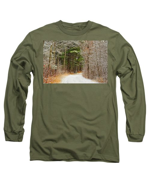 Snowy Tunnel Of Trees Long Sleeve T-Shirt by Terri Gostola