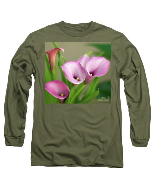 Long Sleeve T-Shirt featuring the photograph Soft Pink Calla Lilies by Byron Varvarigos