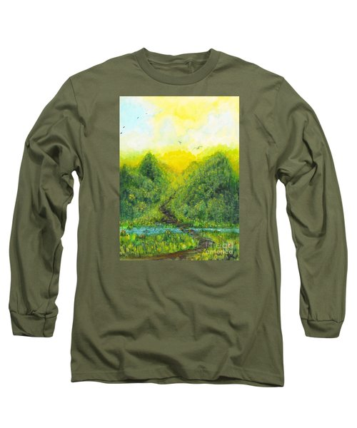 Long Sleeve T-Shirt featuring the painting Sonsoshone by Holly Carmichael
