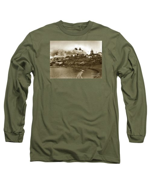 Southern Pacific Del Monte Passenger Train Pacific Grove Circa 1954 Long Sleeve T-Shirt by California Views Mr Pat Hathaway Archives