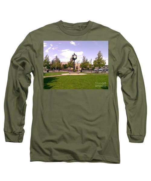 Long Sleeve T-Shirt featuring the photograph Sparks Community Clock by Bobbee Rickard