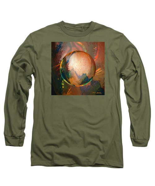 Long Sleeve T-Shirt featuring the digital art Sphering Lunar Vibrations by Robin Moline
