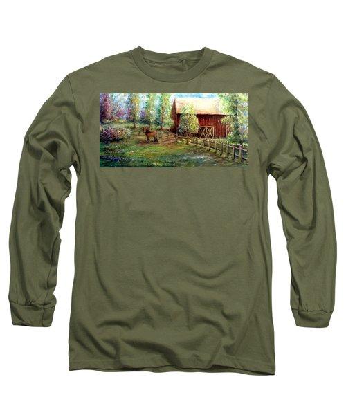 Springborn Horse Farm Long Sleeve T-Shirt by Bernadette Krupa